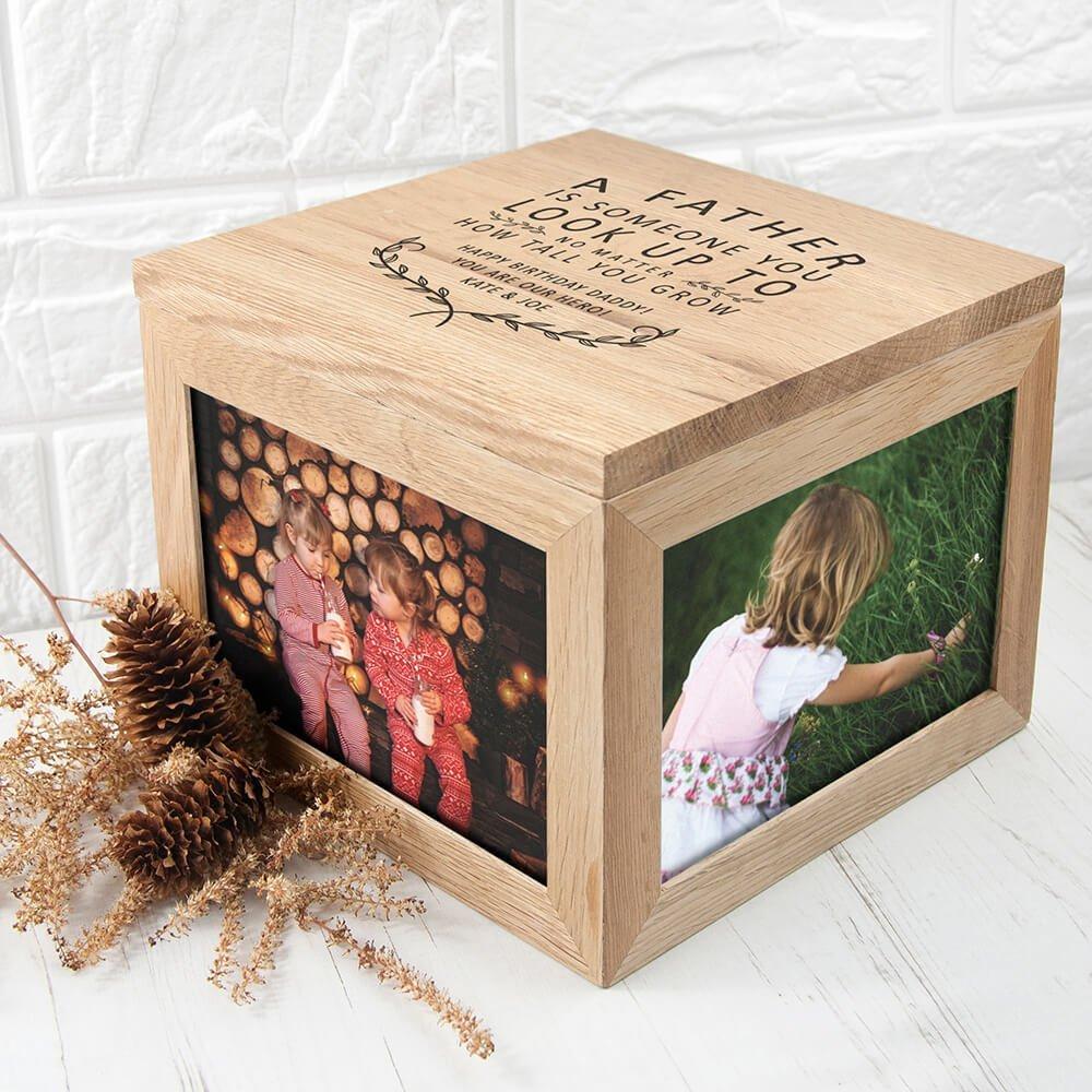 Personalised Oak Photo Keepsake Box – Father Is