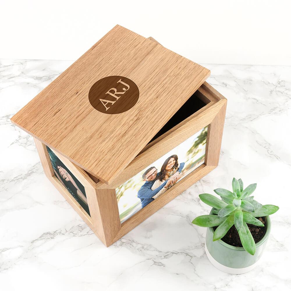 Personalised Oak Photo Keepsake Box – Initials (Medium)
