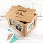 Personalised Oak Photo Keepsake Box – Name & Heart (Medium)
