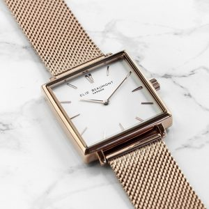 Personalised Ladies Rose Gold (Square) Watch – Your Message