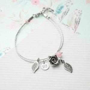 Personalised Bracelet with Rose Quartz Stones – Initial(s)