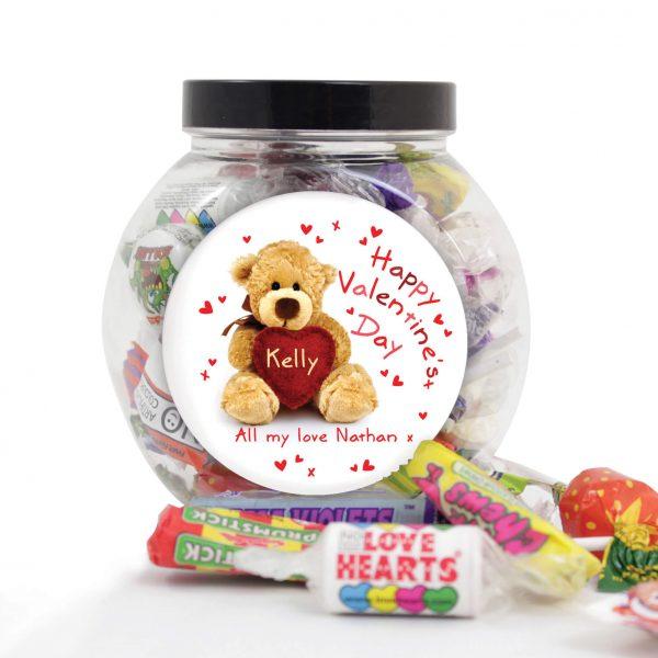 Personalised Teddy Heart Sweet Gift Jar