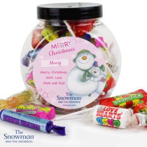 Personalised The Snowman and the Snowdog Pink Sweet Gift Jar