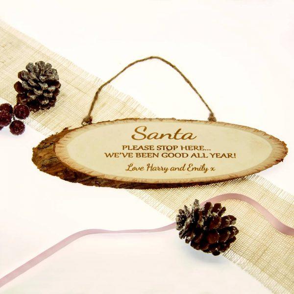 Personalised Wooden Sign – Santa Please Stop