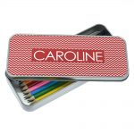 Personalised Red Chevron Pencil Case