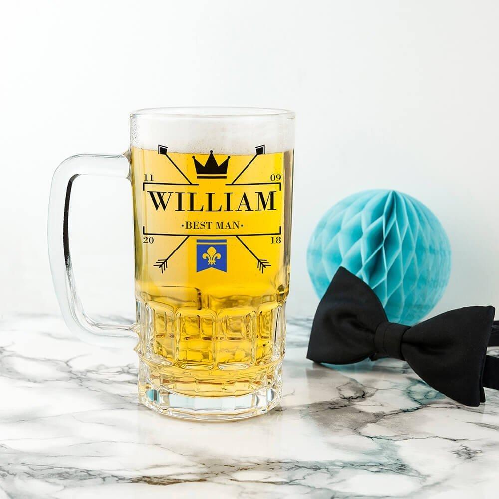 Personalised Wedding Beer Glass (Tankard) – Emblem