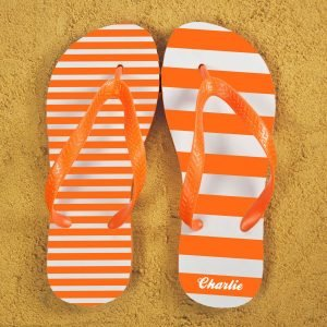Personalised Adults Flip Flops (Orange) – Striped