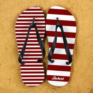 Personalised Adults Flip Flops (Red) – Striped