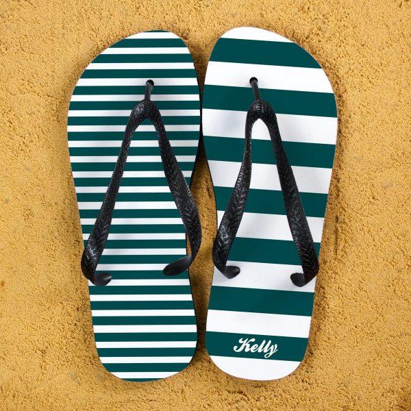 Personalised Adults Flip Flops (Teal) – Striped