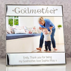 Personalised Silver Godmother Square 6×4 Photo Frame