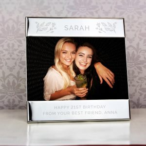 Personalised Silver Floral Square 6×4 Landscape Photo Frame