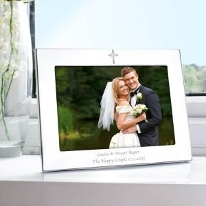 Personalised Silver 7×5 Landscape Cross Photo Frame