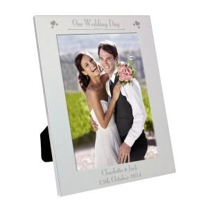 Personalised Silver 5×7 Decorative Our Wedding Day Photo Frame