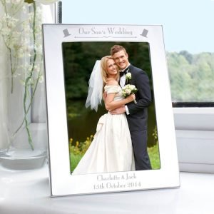 Personalised Silver 5×7 Decorative Our Sons Wedding Photo Frame