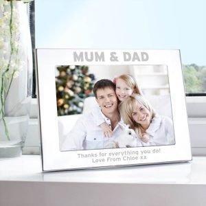 Personalised Silver 7×5 Mum & Dad Photo Frame