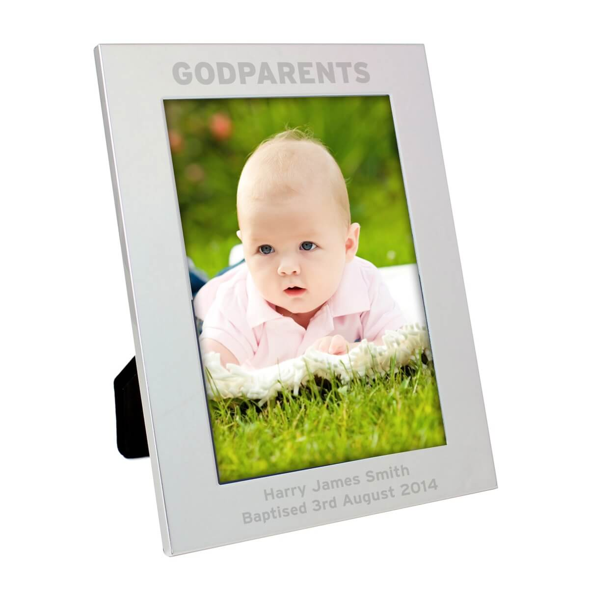 Personalised Silver 5×7 Godparents Photo Frame