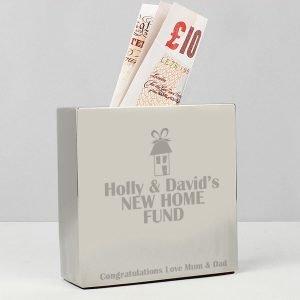 Personalised House Square Money Box