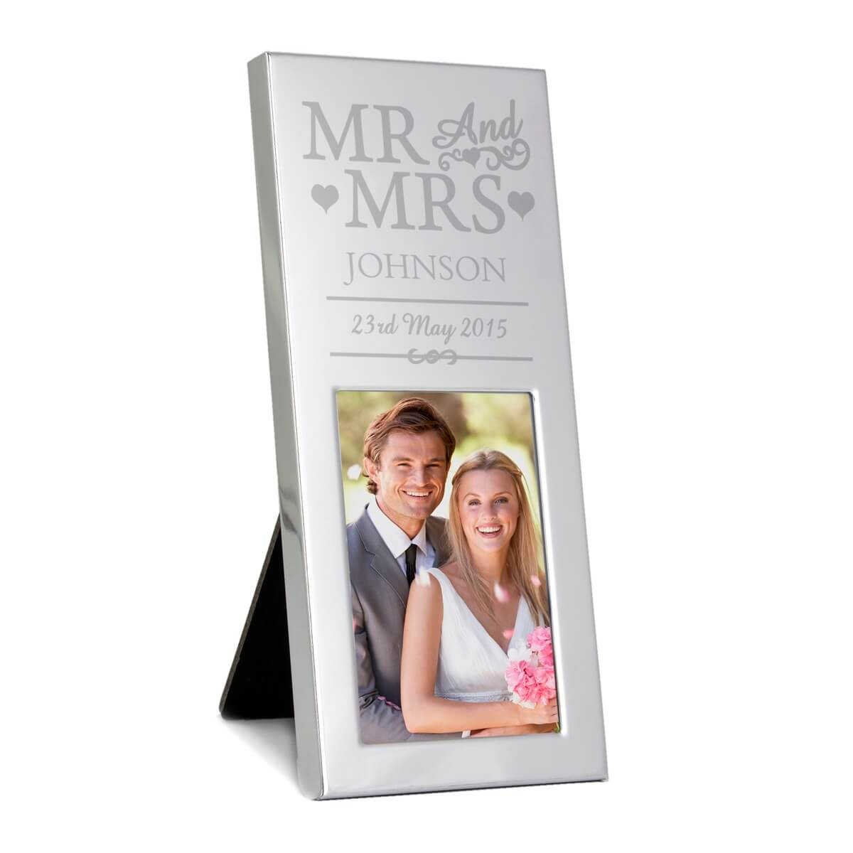 Personalised Small Mr & Mrs 3×2 Silver Photo Frame
