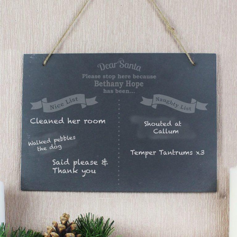 Personalised Christmas Naughty & Nice Hanging Large Slate Sign