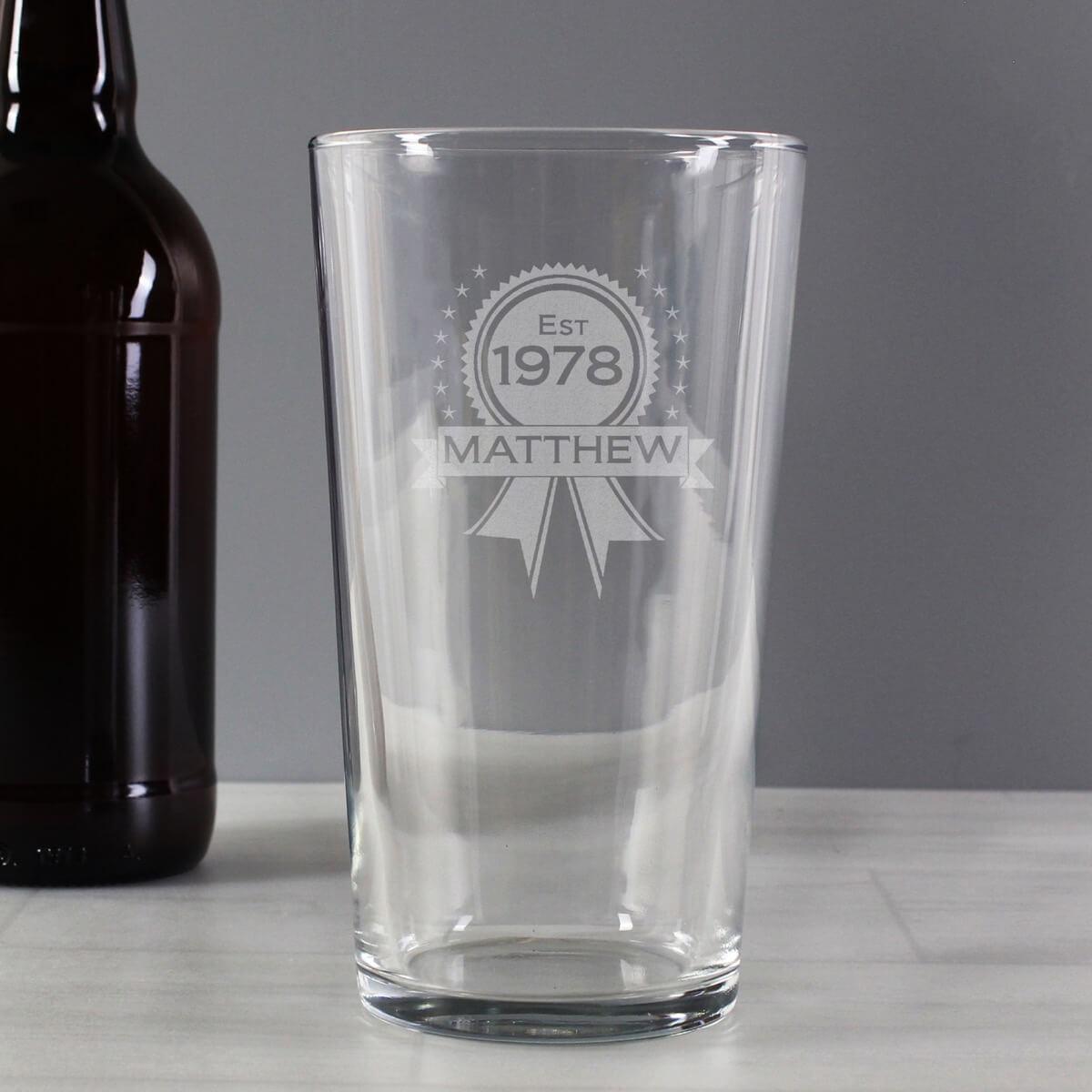 Personalised Established Rosette Pint Glass