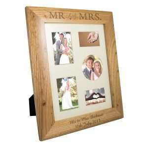 Personalised Mr & Mrs 10×8 Wooden Photo Frame