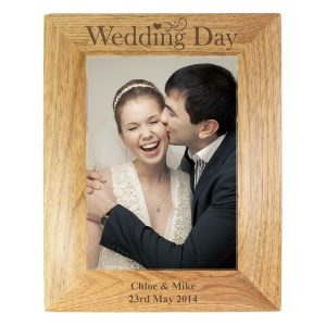 Personalised Wedding Day 7×5 Wooden Photo Frame