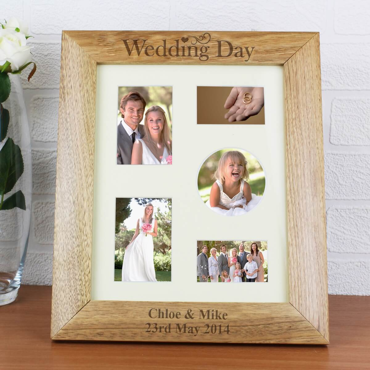 Personalised Wedding Day 10×8 Wooden Photo Frame