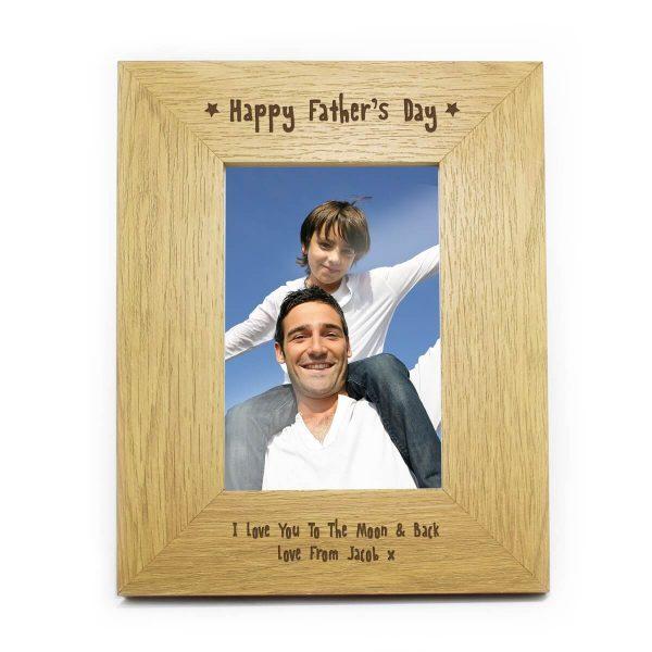Personalised Oak Finish 6×4 Happy Fathers Day Photo Frame