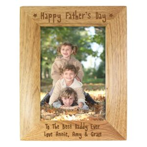 Personalised Happy Father's Day 7×5 Wooden Photo Frame