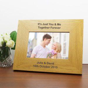 Personalised Long Message 6×4 Landscape Oak Finish Photo Frame