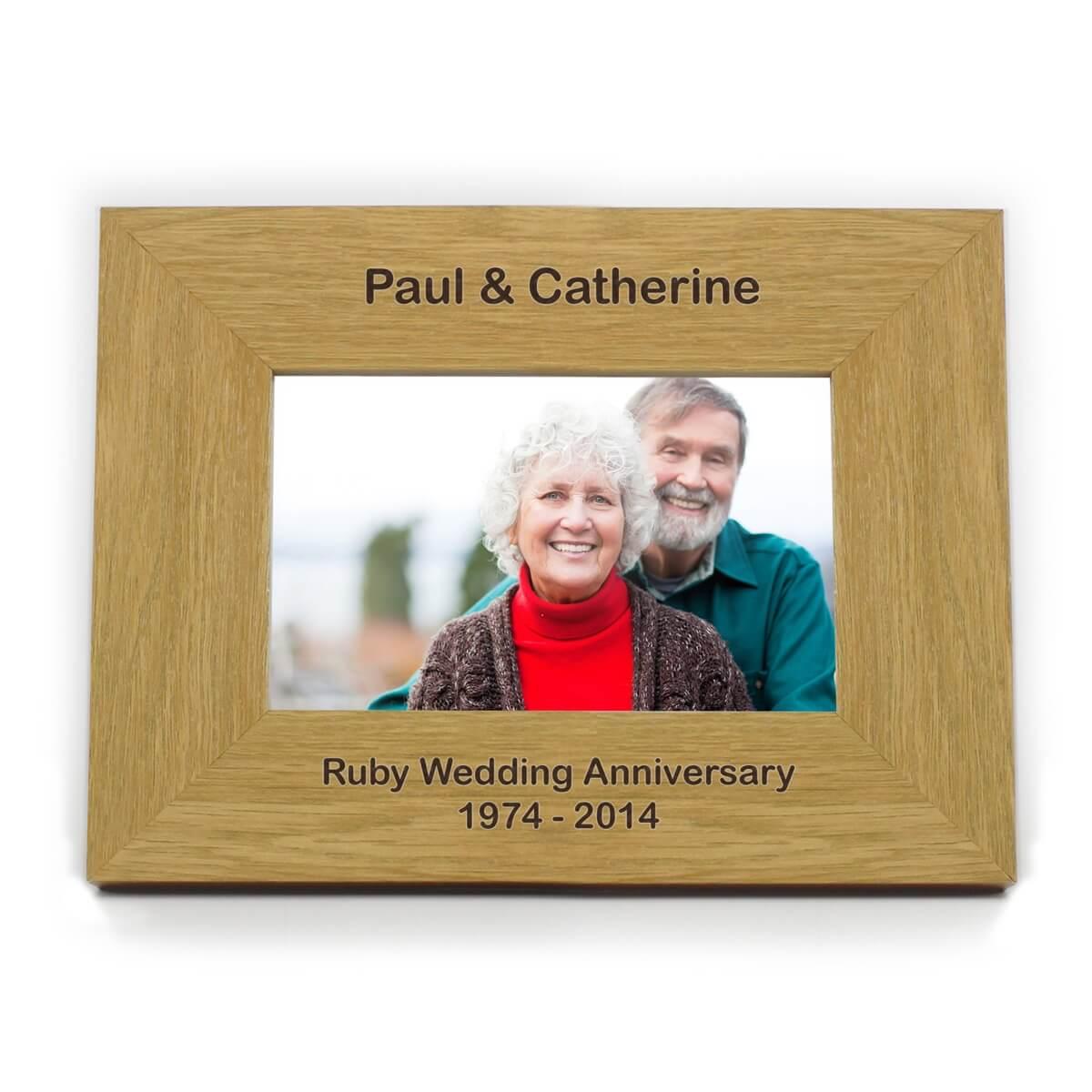 Personalised Short Message 6×4 Landscape Oak Finish Photo Frame
