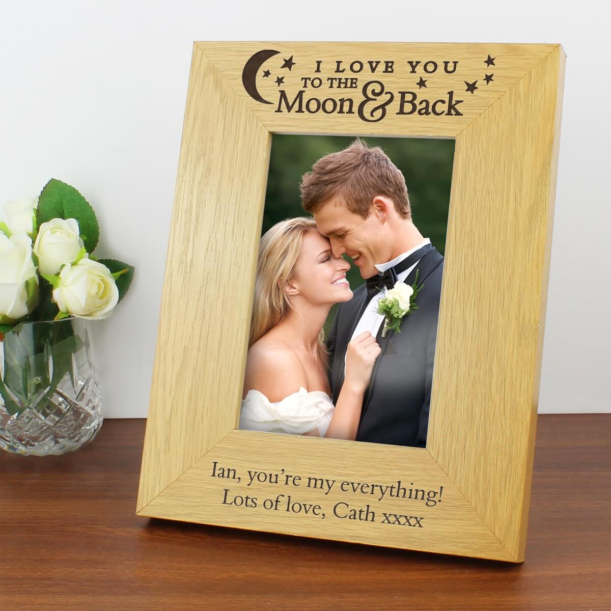 Personalised 'To the Moon and Back' 6×4 Oak Finish Photo Frame