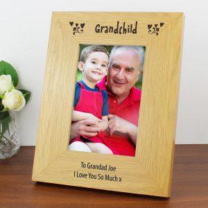 Personalised Oak Finish 6×4 Grandchild Photo Frame