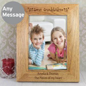 Personalised Great Grandchildren 7×5 Wooden Photo Frame