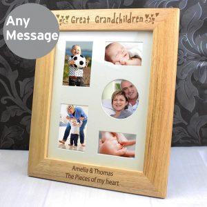 Personalised Great Grandchildren 10×8 Wooden Photo Frame
