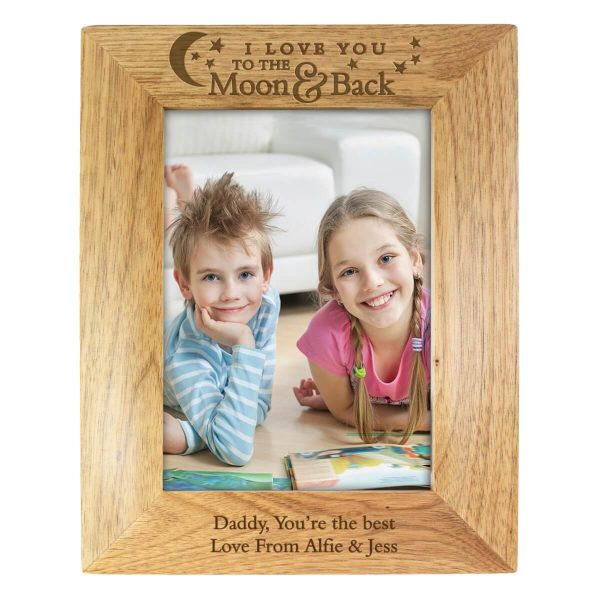 Personalised To the Moon and Back… 7×5 Wooden Photo Frame