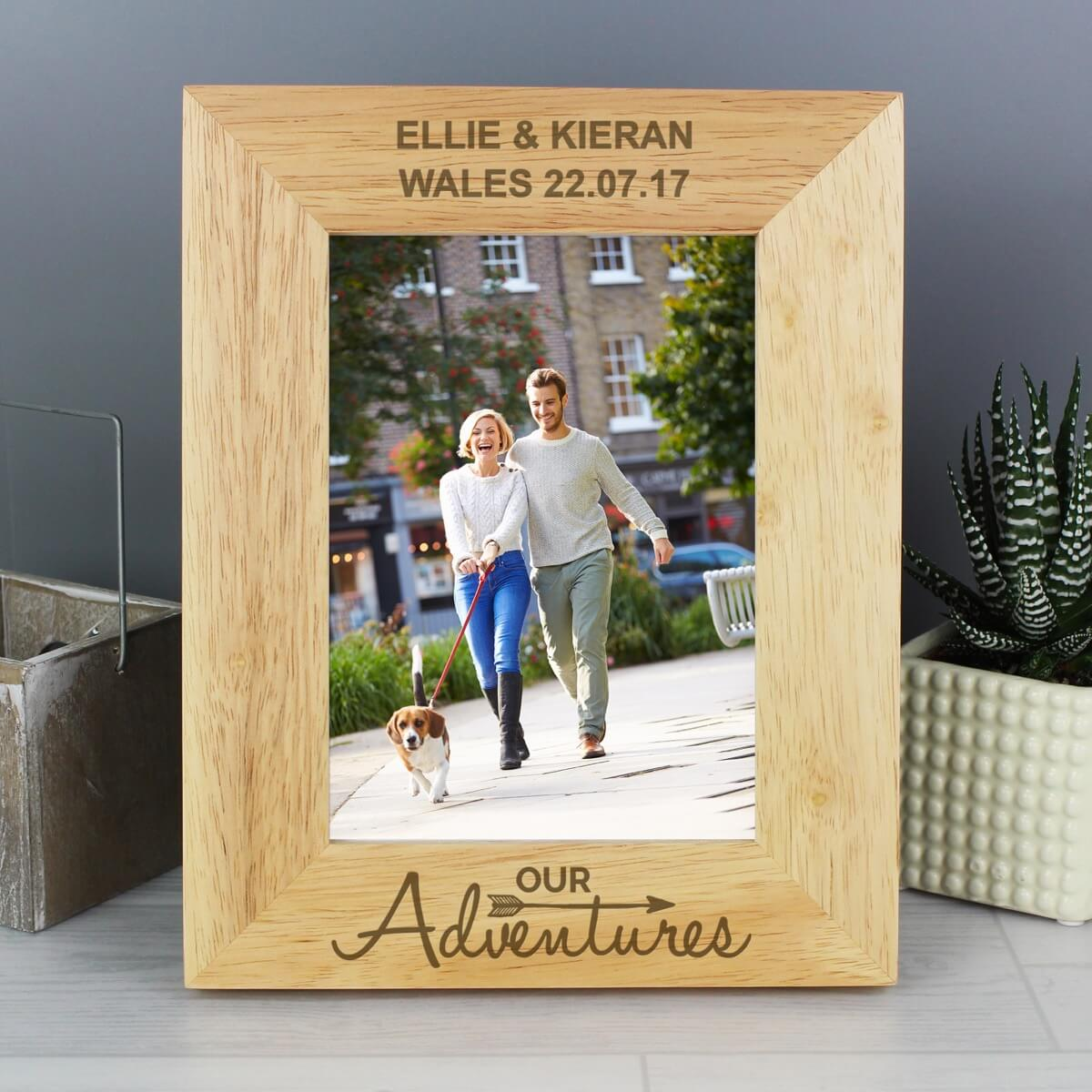 Personalised Our Adventures 7×5 Wooden Photo Frame