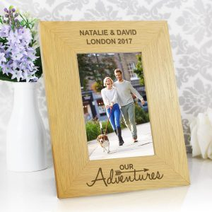 Personalised Our Adventures 6×4 Oak Finish Photo Frame
