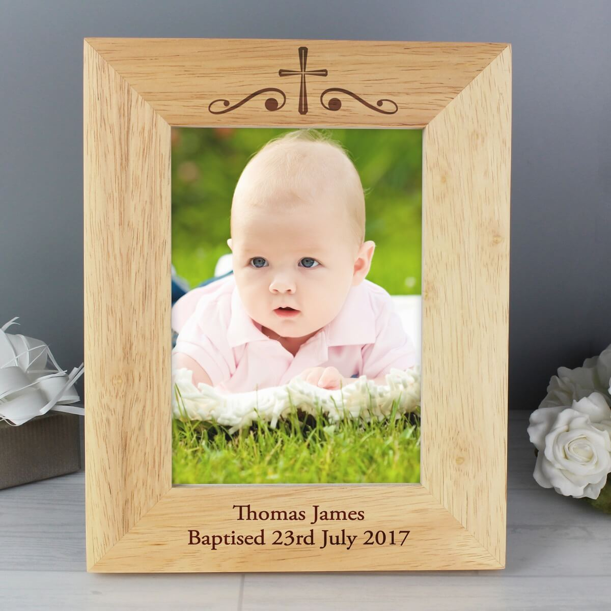 Personalised Religious Swirl 7×5 Wooden Photo Frame