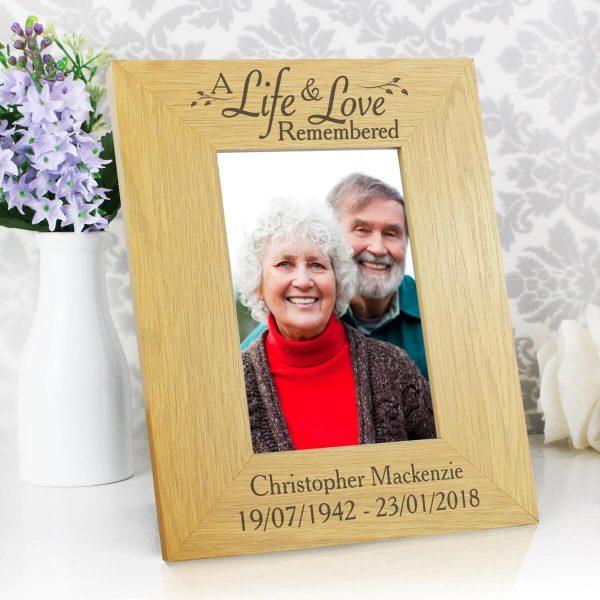 Personalised Life & Love 6×4 Oak Finish Photo Frame