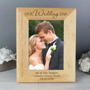 Personalised 'Our Wedding Day' 7×5 Wooden Photo Frame