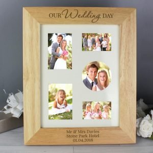 Personalised 'Our Wedding Day' 10×8 Wooden Photo Frame