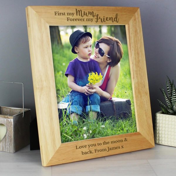 Personalised 'First My Mum, Forever My Friend' 10×8 Wooden Photo Frame
