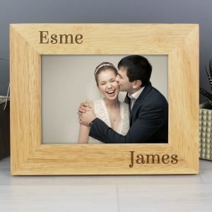 Personalised Couples 7×5 Landscape Wooden Photo Frame