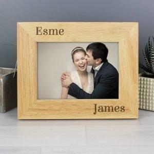 Personalised Couples 6×4 Oak Finish Photo Frame