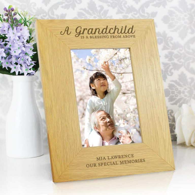 """Personalised """"""""A Grandchild Is A Blessing"""""""" 6×4 Oak Finish Photo Frame"""