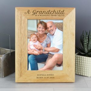 Personalised 'A Grandchild is a Blessing' 7×5 Wooden Photo Frame