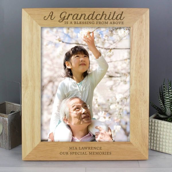 Personalised 'A Grandchild is a Blessing' 10×8 Wooden Photo Frame