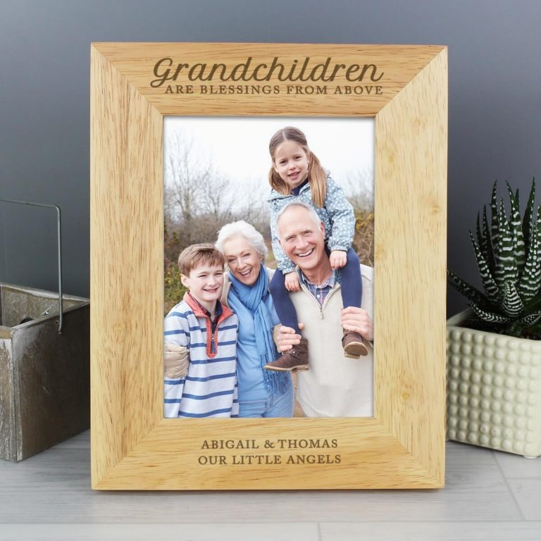 Personalised 'Grandchildren are a Blessing' 7×5 Wooden Photo Frame