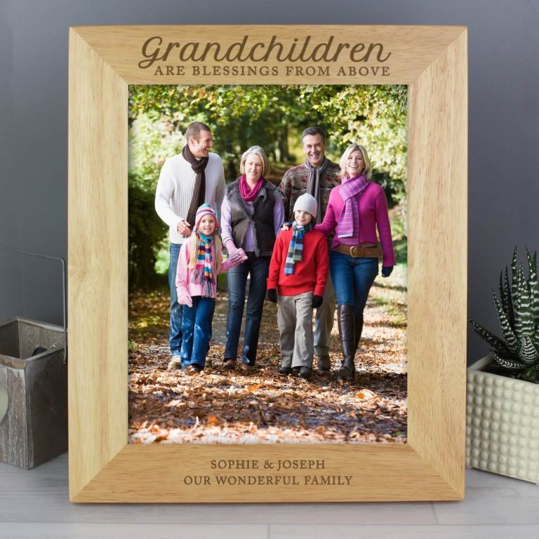 Personalised 'Grandchildren are a Blessing' 10×8 Wooden Photo Frame